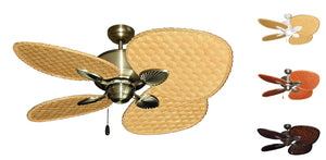 48 inch Palm Breeze II Ceiling Fan with Woven Bamboo Blades - tropical-fan-company