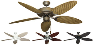 52 inch Raindance Ceiling Fan - Bamboo or Palm Style Reversible Blades - tropical-fan-company