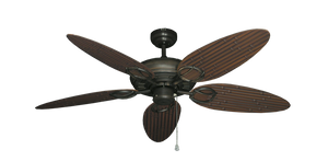 52 inch Trinidad Ceiling Fan - Bamboo or Palm Style Reversible Blades - tropical-fan-company