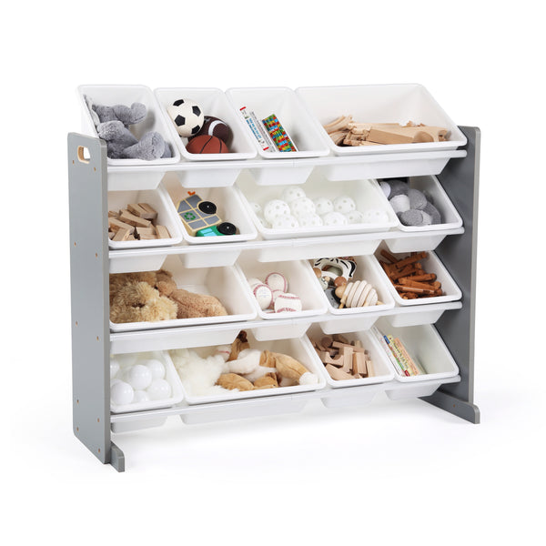 Supersized Grey and White 16-Bin Toy Organizer