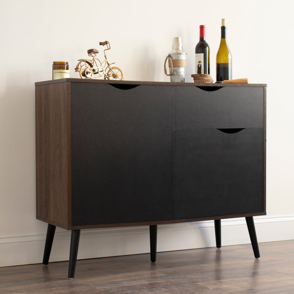 Quinn Bar Cabinet and Dining Buffet with Storage and Adjustable Shelving, Dark Walnut/Black