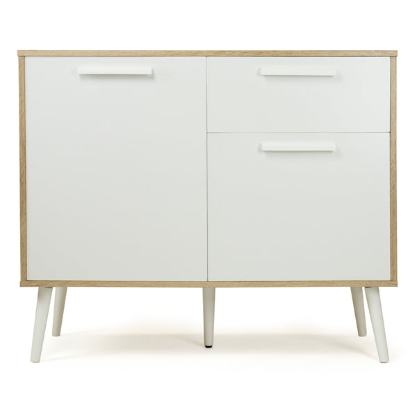 Stockholm Bar Cabinet and Dining Buffet with Storage and Adjustable Shelving, Oak/White