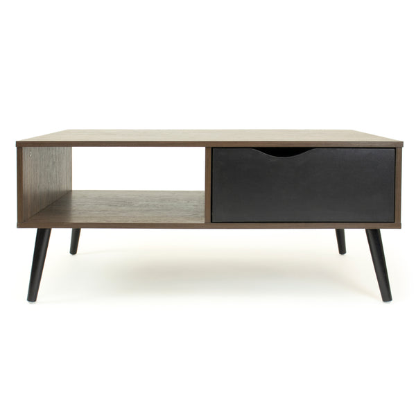 Seine Low Mid-Century Coffee Table with Open Shelf and Drawer Storage, Dark Walnut/Black