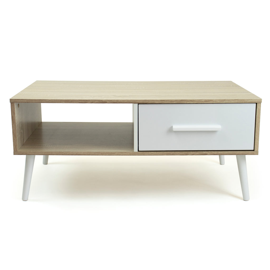 Stockholm Low Mid-Century Coffee Table with Open Shelf and Drawer Storage, Oak/White