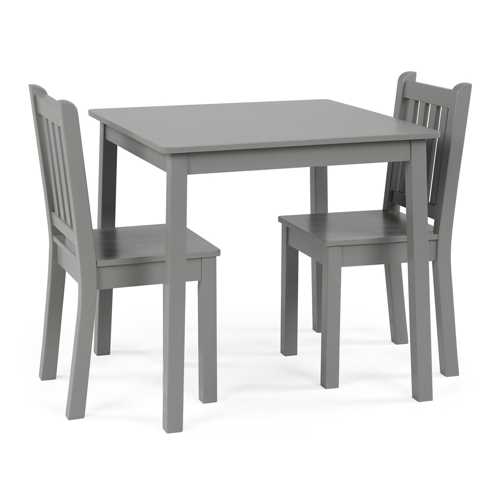 Explorer Kids Wood Grey Table and 2 Chairs Set