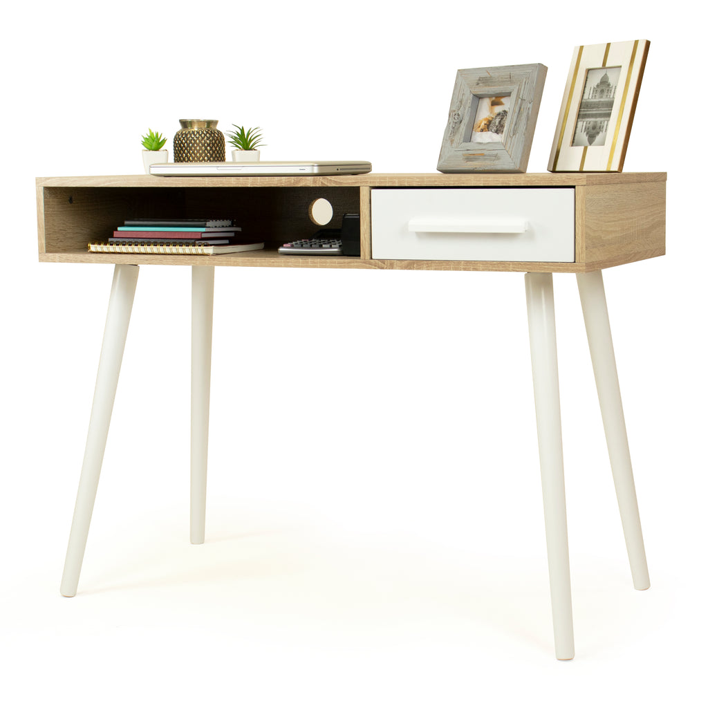 Stockholm Writing Desk and Console Entryway Table with Shelf and Drawer Storage, Oak/White