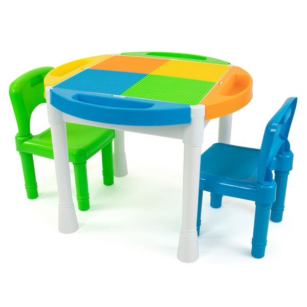 Kids 2-in-1 Plastic Building Blocks Compatible Activity Table with 100pc Starter Blocks and 2 Chair Set