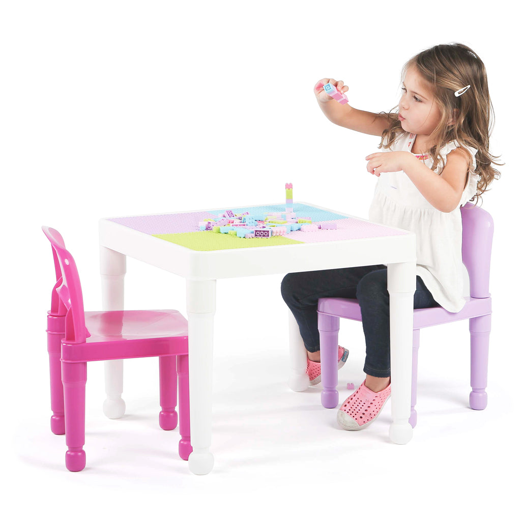 Playtime Square 2-in-1 Activity Table with 2 Chairs - Pink & Purple