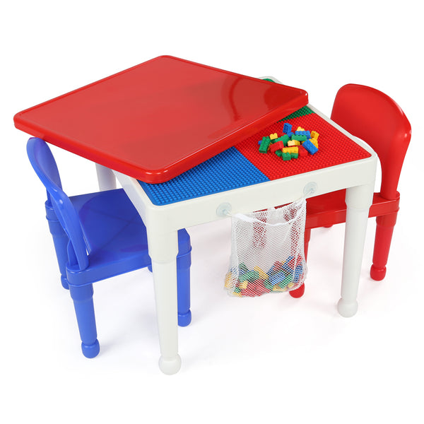 Playtime Square 2-in-1 Activity Table with 2 Chairs - White Table & Red Cover