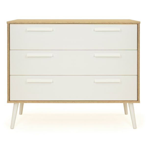 Oslo 3-Drawer Wide Dresser Storage Mid-Century, Oak/White