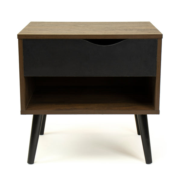 Seine End Table Nightstand with Shelf and Drawer Storage, Dark Walnut/Black