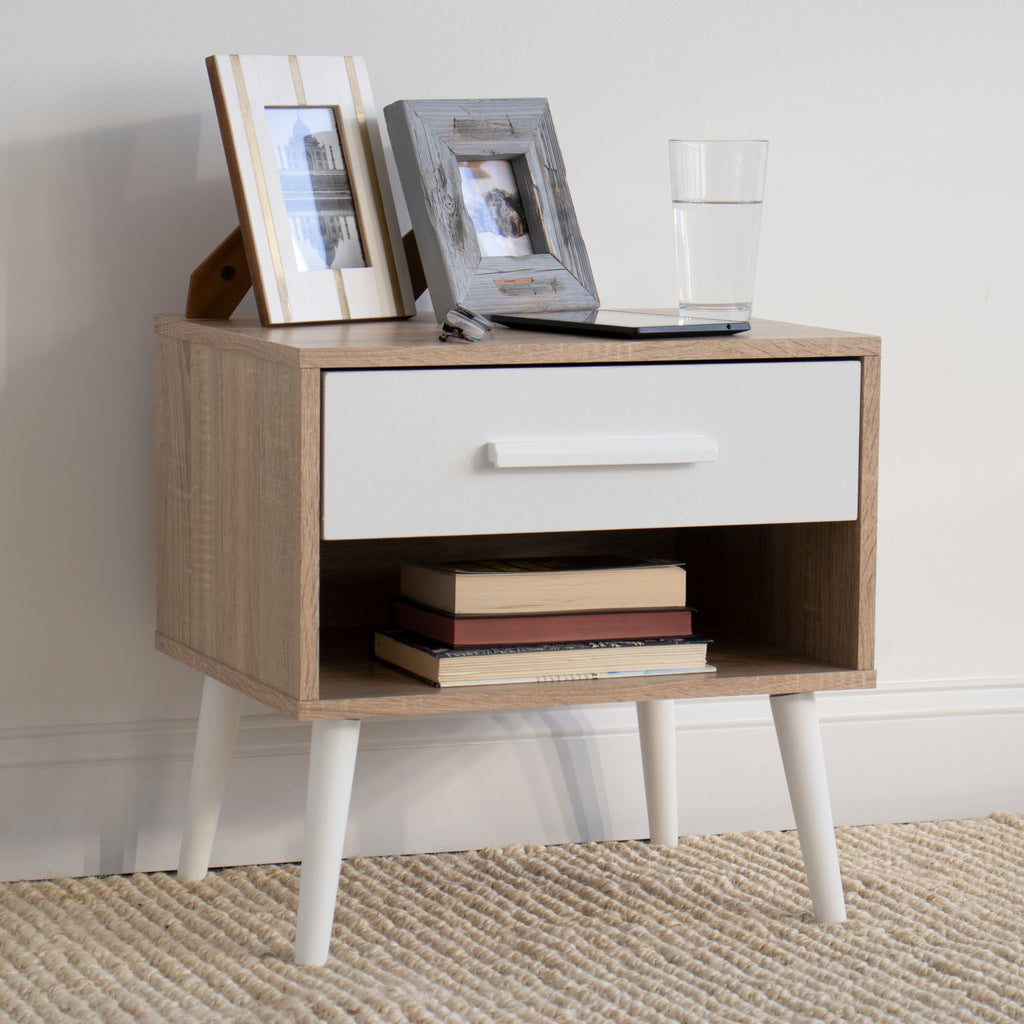 Stockholm End Table Nightstand with Shelf and Drawer Storage, Oak/White