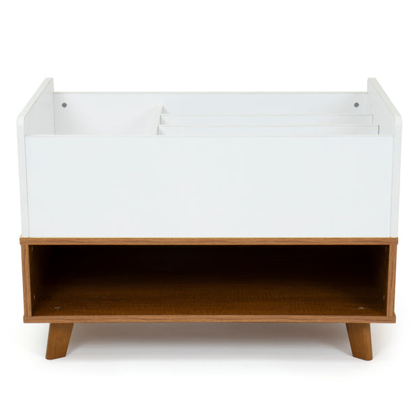 Morgan Wood Bookshelf Caddy and Toy Storage with Shelf, Honey/White