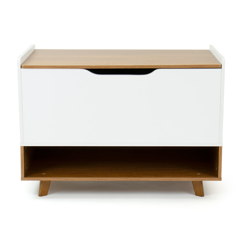 Morgan Wood Toy Box with Soft Close Lid and Storage Shelf Toy Chest, Mid-Century, Honey/White