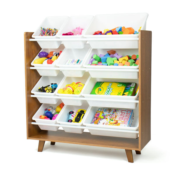 Morgan 12-Bin Toy Storage Mid-Century Organizer, Wood/White