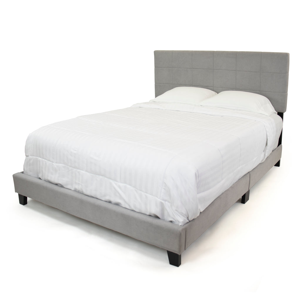 Emerson Queen Size Quilted Cushion Fabric Low Platform Bed, Grey