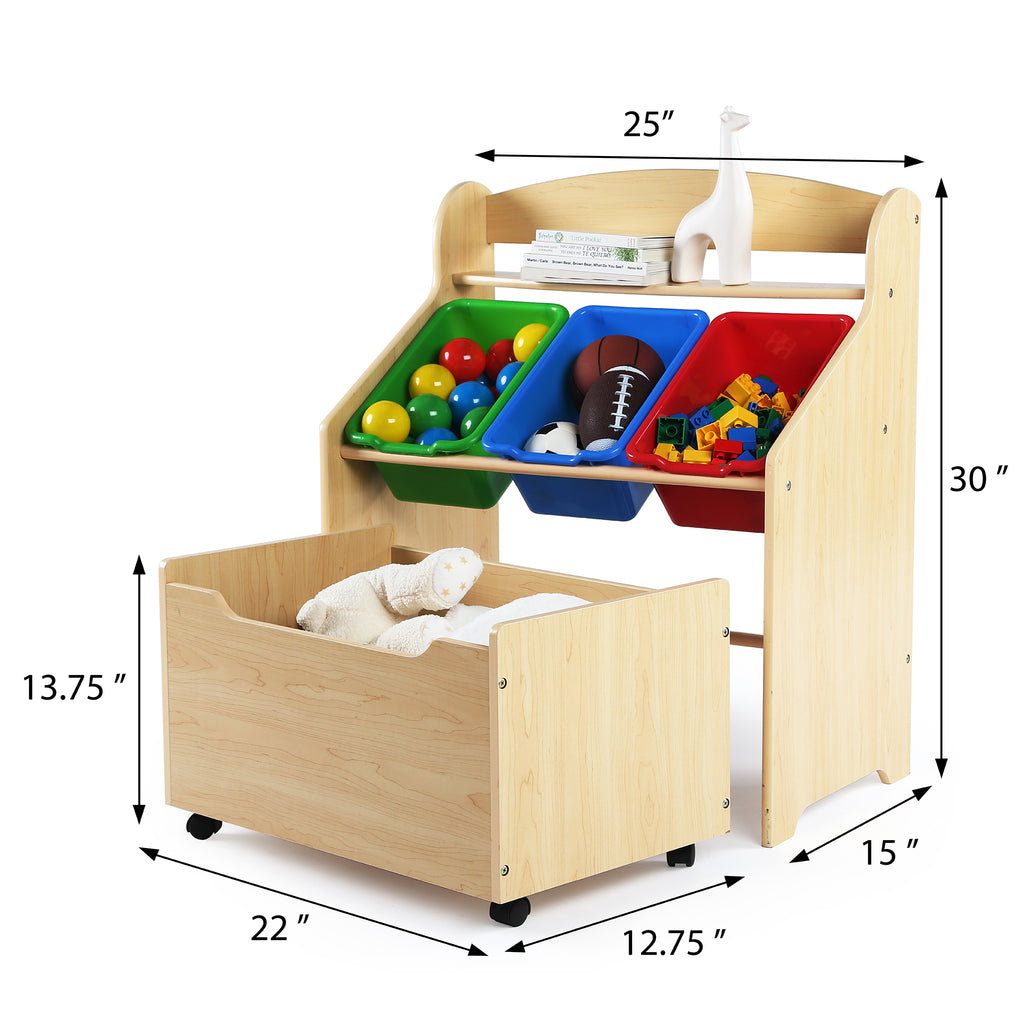 Primary Natural Wood Storage Unit with Roll-Out Toy Box