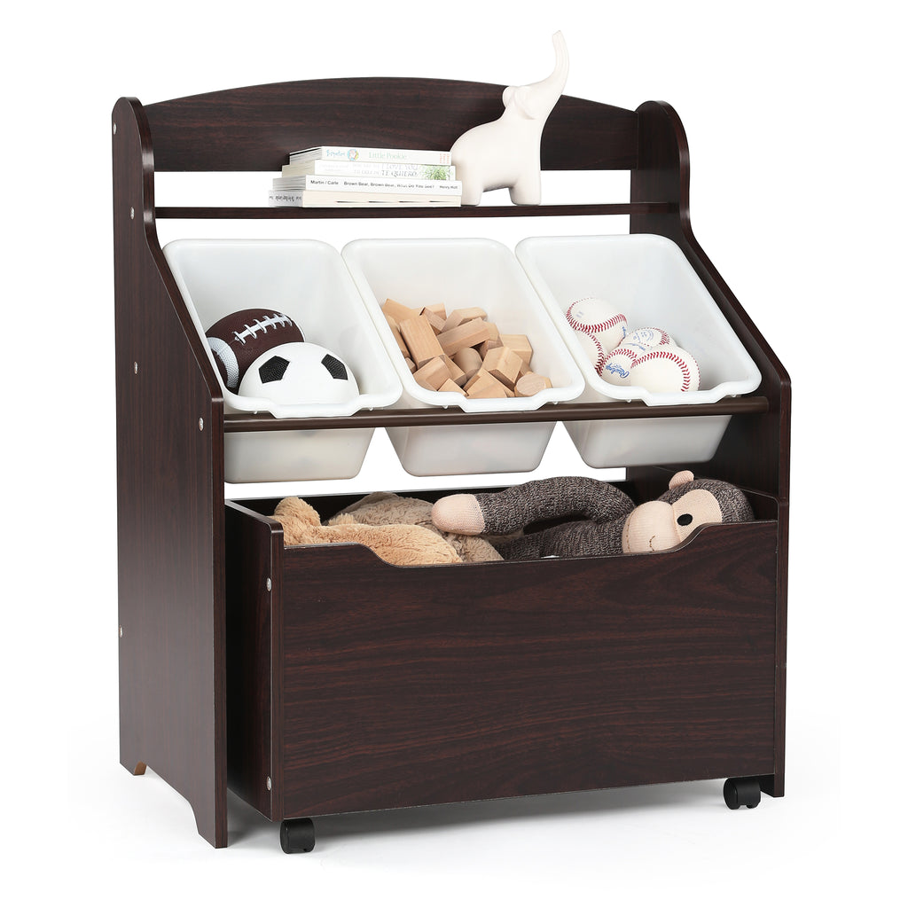 Espresso Wood Storage Unit with Roll-Out Toy Box