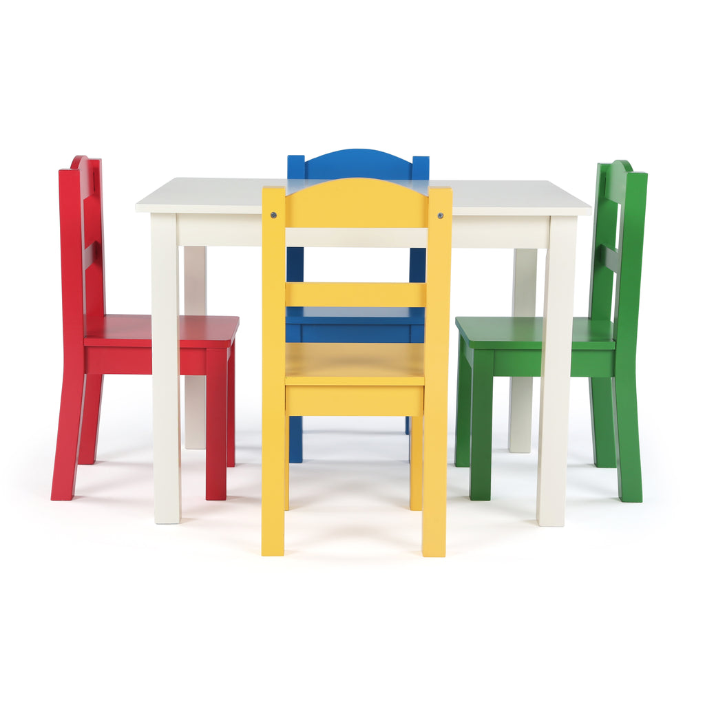 Summit White Wood Table & 4 Primary Chairs