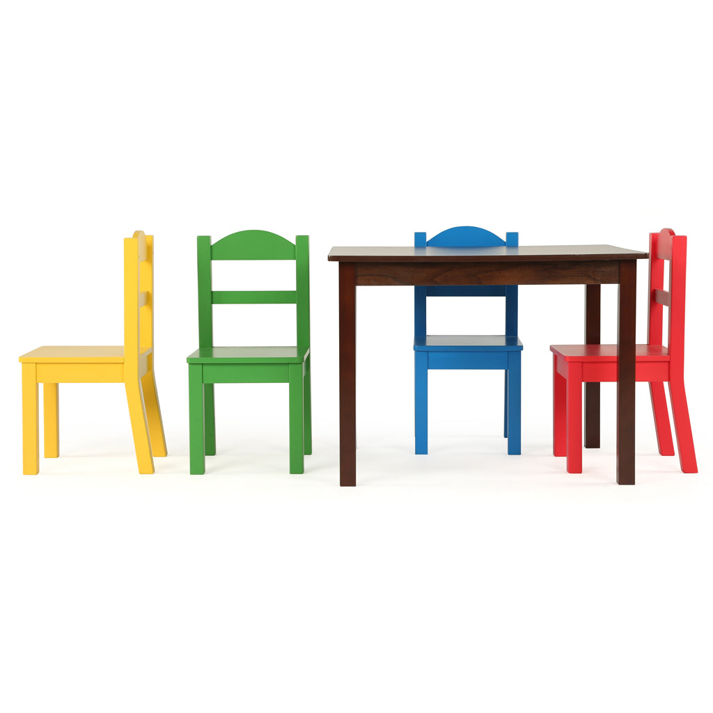 Discover Walnut Wood Kids Table & 4 Primary Chairs