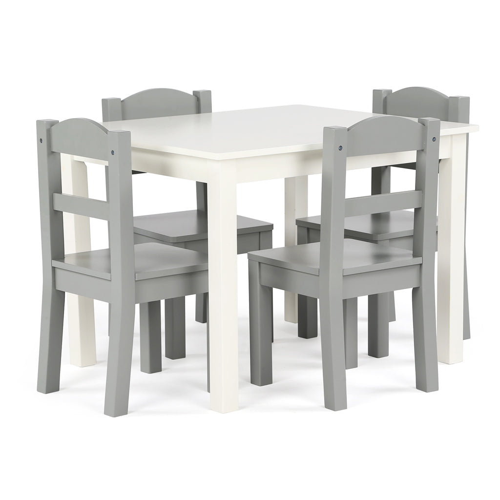 Springfield White Wood Kids Table & 4 Grey Chairs