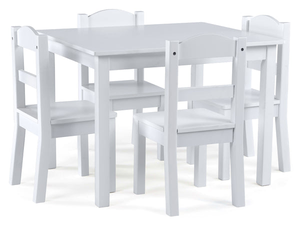 Cambridge White Wood Kids Table & 4 Chairs Set