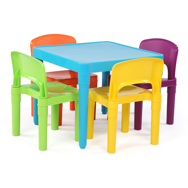Playtime Plastic Activity Table 5-Piece Set - Bright Blue