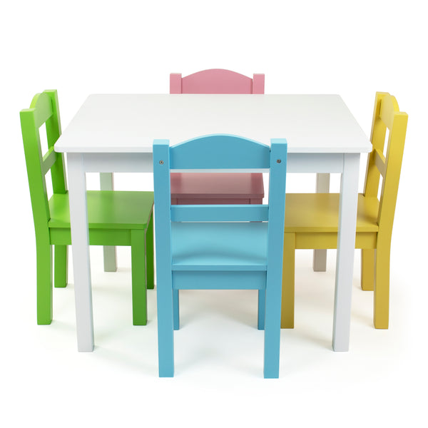 Pastel White Kids Table & 4 Chairs