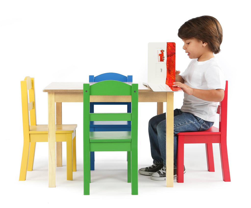 Primary Natural Wood Table & 4 Primary Chairs