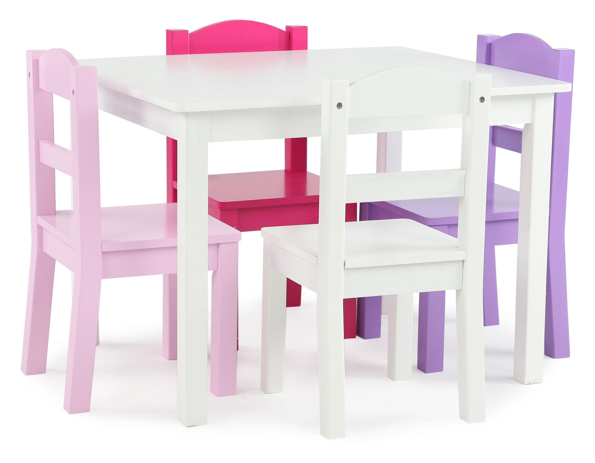 Friends White Kids Table & 4 Pink and Purple Chairs