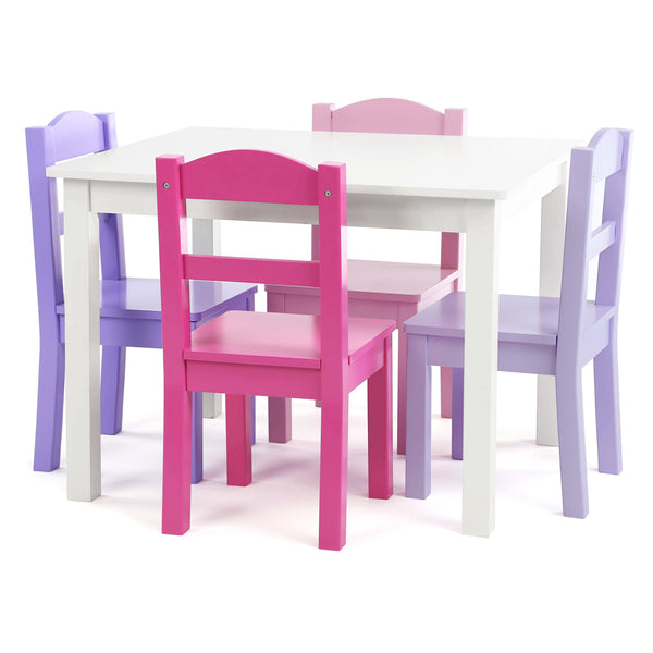 Forever White Wood Kids Table & 4 Pink and Purple Chairs