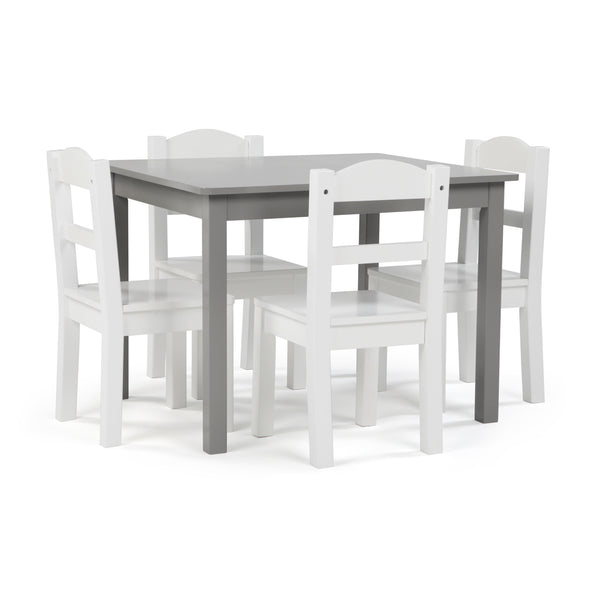 Inspire Grey Wood Table & 4 White Chairs