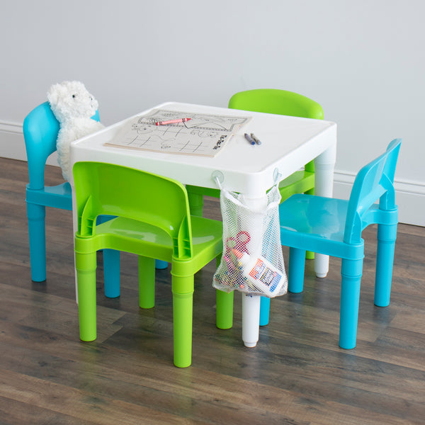 Lightweight Kids Plastic Table and 4 Chair Set with Mesh Storage Bag