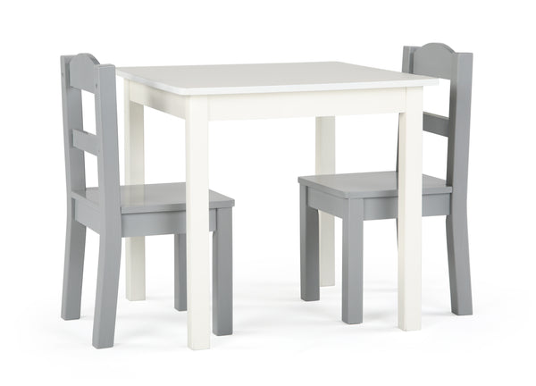 Inspire White Wood Table & 2 Grey Chairs