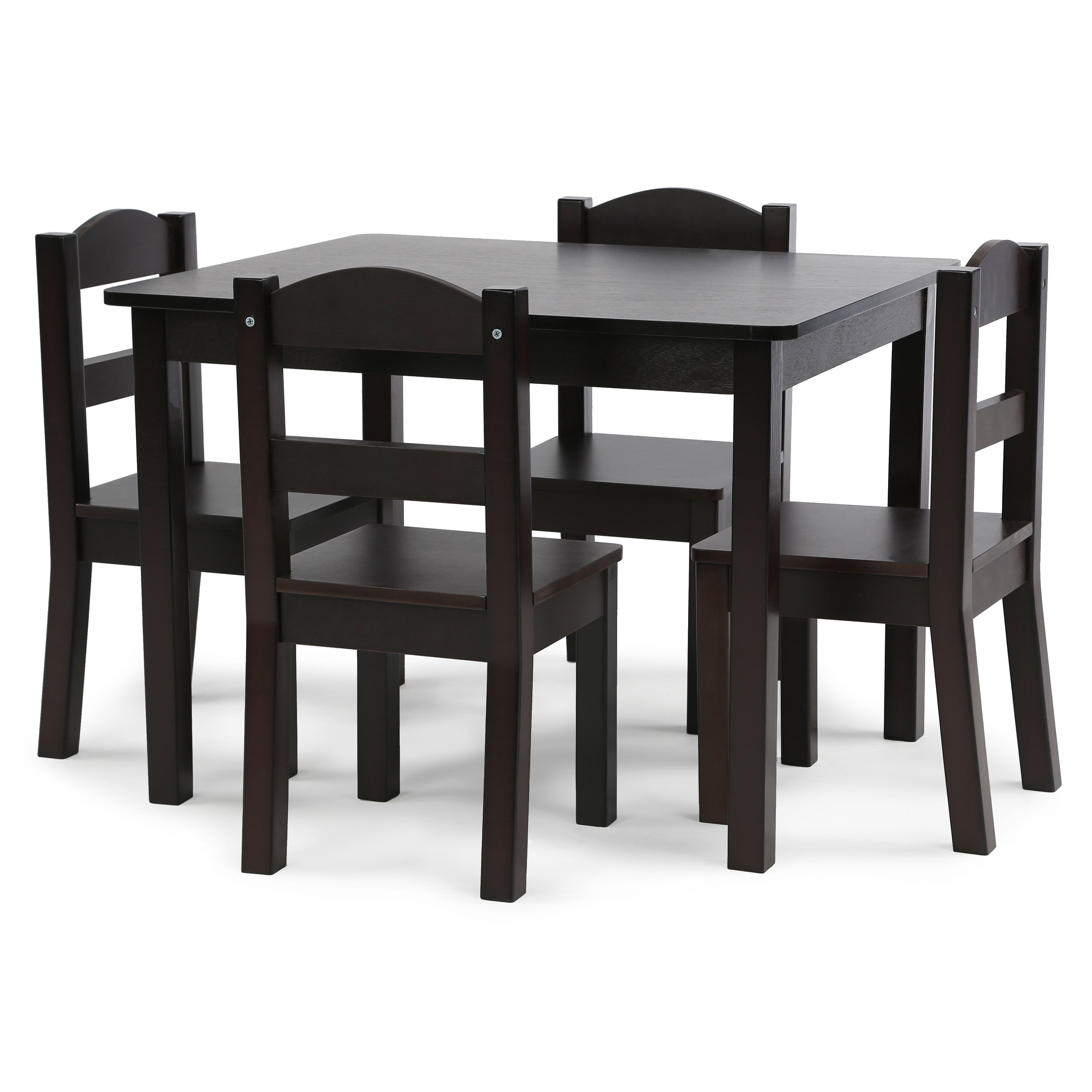 Espresso Kids Wood Table and 4 Chairs Set