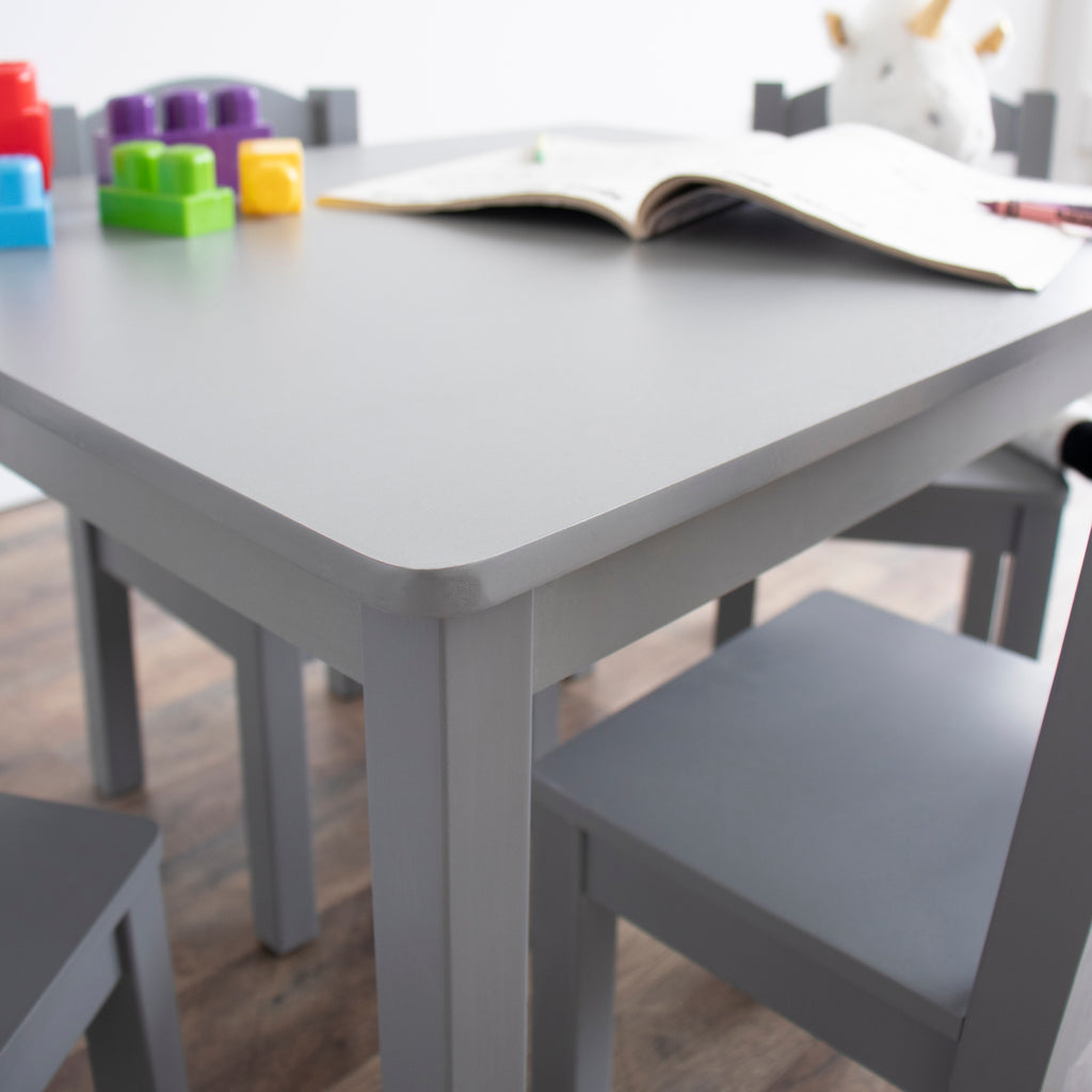 Kids Wood Table and 4 Chair Set, Grey, Inspire Collection