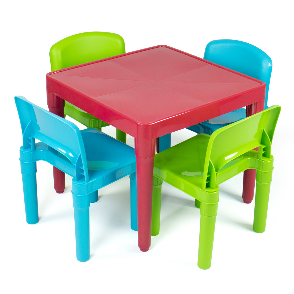 Lightweight Kids Plastic Table and 4 Chair Set