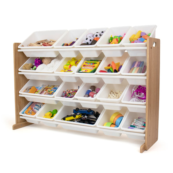 Journey Extra Large Toy Storage Organizer with 20  Storage Bins, Natural/White