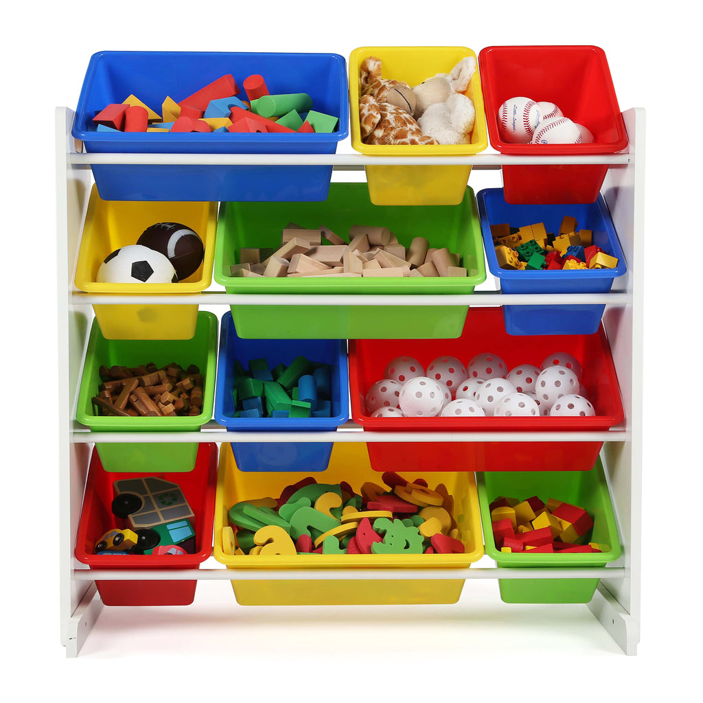 Summit White and Primary 12-Bin Toy Organizer