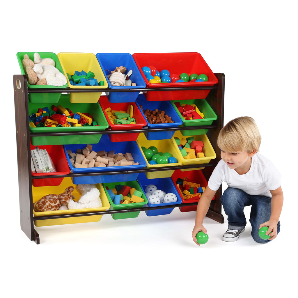 Discover Walnut Supersized Toy Organizer with 16 Primary Bins
