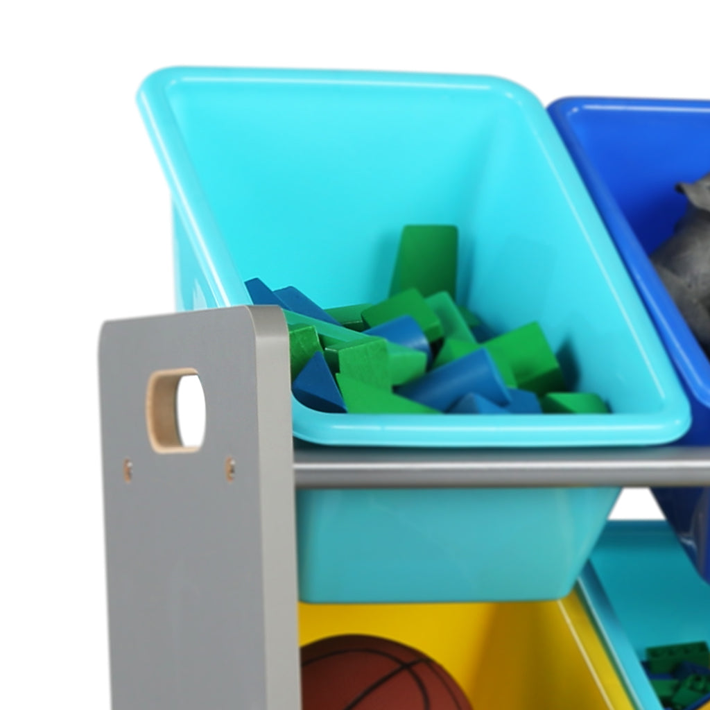 Elements Supersized Extra Large Grey and Blue 16-Bin Toy Organizer
