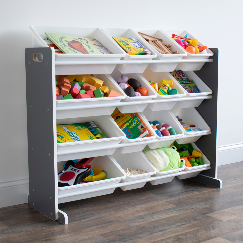 Soho Grey/WhiteToy Storage Organizer with 16  Storage Bins