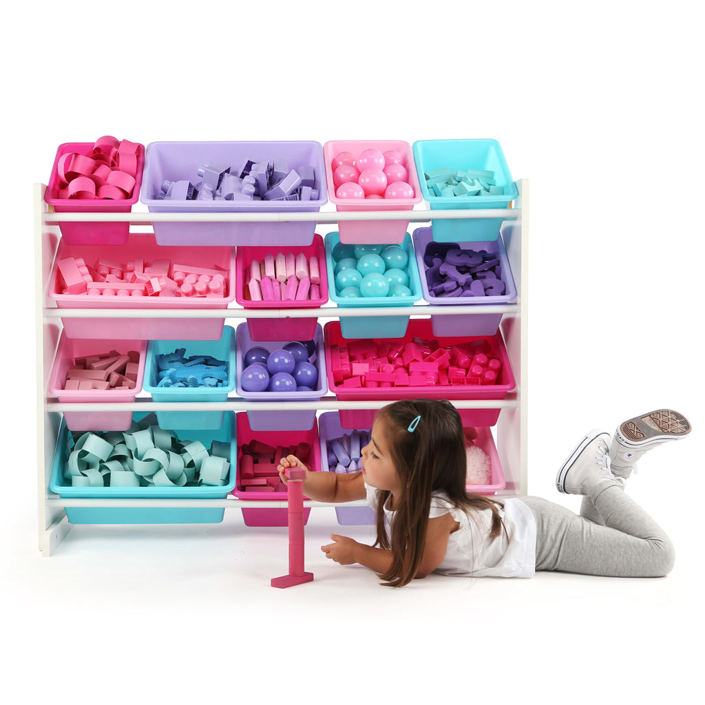 Forever Supersized Extra Large White and Pink 16-Bin Toy Organizer