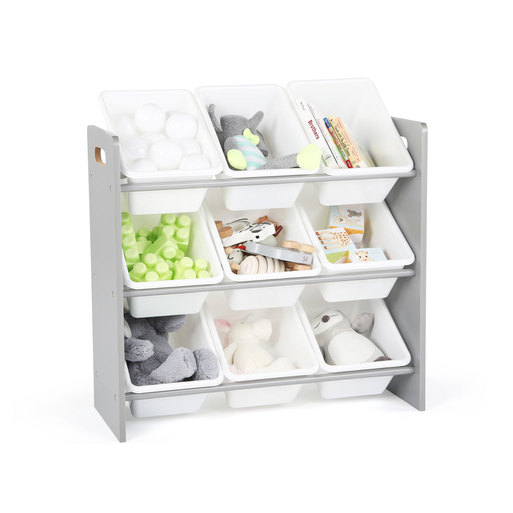 Inspire Grey and White 9-Bin Toy Organizer