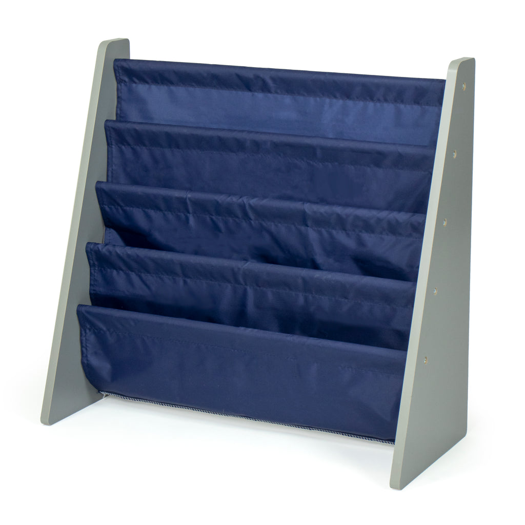 Kids Bookshelf 4 Tier Book Organizer,  Navy/Grey
