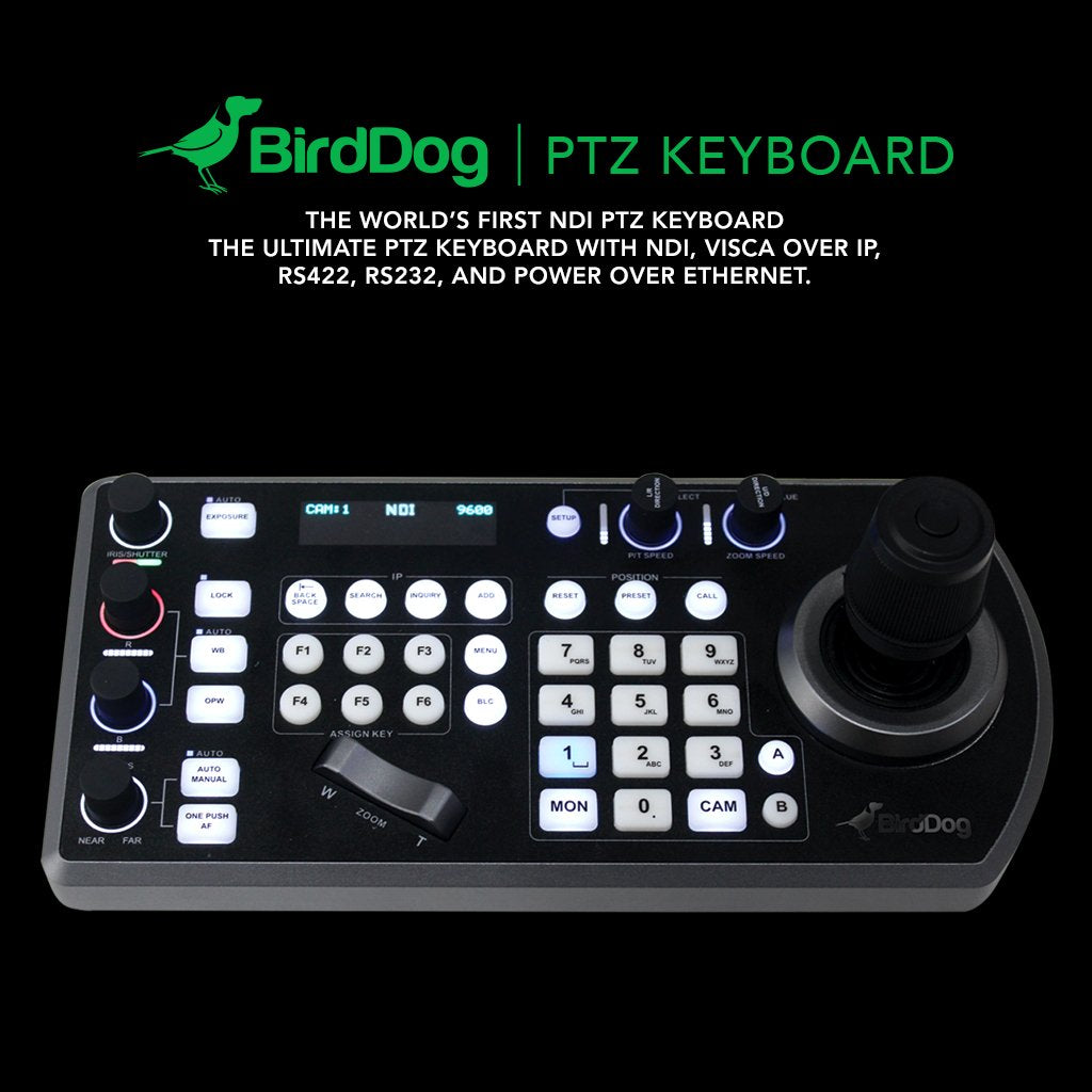 PTZ Keyboard controller for Birddog NDI Cameras Comms Compatible