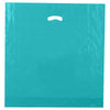 20 x 20 x 5 High Gloss Teal Plastic Bags w/ Die Cut Handle 500/Case