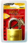 "Defense2 Solid Brass 2"" Padlock, 4/Case"