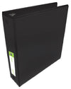 "2"" Black 3-Ring Binder with Non-Glare Insert Cover and Inside Pockets"