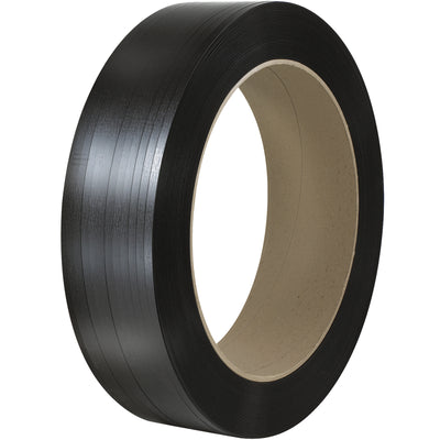 "1/2"" x .015 500# (16x3) Polyester Strap 9000 Feet (two 4500 Foot rolls) BLACK 2/Case"